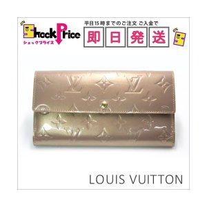 Louis Vuitton M91764 モノグラム長財布 ヴェルニ ヴィトン ベージュ系 ポルトフォイユ・サラ レディース カードケース 札入れ エレガント 新品|mnet