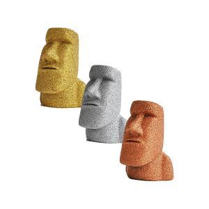 プレミアム ミニモアイ像 3体セット 金 銀 銅 インテリア グッズ パワーストーン お守り おもしろ雑貨 誕生日プレゼント 贈り物 置物 オブジェ|moai-store