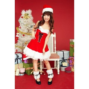 即納 サンタ コスプレ 膝丈 サンタ 衣装 安い サンタクロース コスチューム レディース ワンピース セクシーサンタ 15022|mobadepa