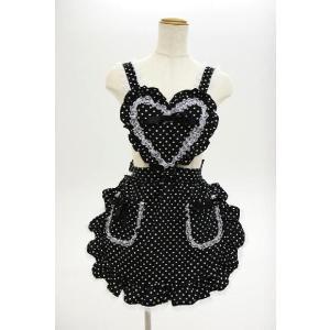 コスプレ 衣装 コスプレ メイド服 コスチューム エプロン ハートフリルエプロン ドット ブラック|mobadepa