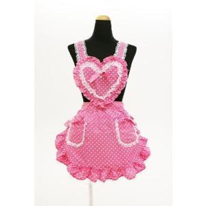 コスプレ 衣装 コスプレ メイド服 コスチューム エプロン ハートフリルエプロン ドット ピンク|mobadepa