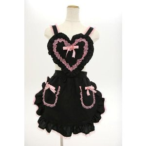 コスプレ 衣装 コスプレ メイド服 コスチューム エプロン ハートフリルエプロン 黒/ピンク|mobadepa