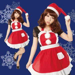 サンタ コスプレ レディース 安い クリスマス コスプレ 衣装 レディース 女性 フリルクリスマスエプロン mobadepa