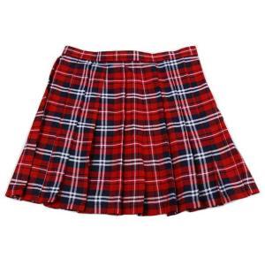 制服スカート 安い 高校生 服 コスプレ セーラー服 制服 プリーツスカート ミニ TeensEver スカート(朱赤×ネイビー×白)LLサイズ|mobadepa