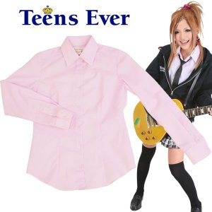 スクールシャツ レディース 高校生 制服 シャツ カッターシャツ 長袖 学生 女子高生 ブランド TEENS EVER ピンクストライプ M|mobadepa