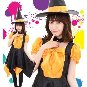 ハロウィン コスプレ 衣装 女性 魔女 レディース 魔法使い 仮装 コスチューム デコリボンウィッチ オレンジ|mobadepa