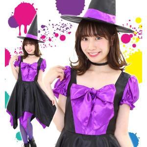 ハロウィン コスプレ 衣装 女性 魔女 ドレス レディース 魔法使い 仮装 コスチューム 魔法使い デコリボンウィッチ パープル|mobadepa