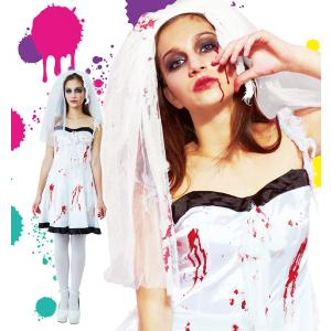 ハロウィン コスプレ 衣装 レディース 花嫁 仮装 コスチューム 女性 スプラッターブライド ウエディングドレス|mobadepa