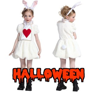 ハロウィン コスプレ 衣装 子供 安い ディズニー 不思議の国のアリス ウサギ風 仮装 コスチューム ワンダーラビットガールキッズ 120|mobadepa