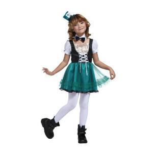 ハロウィン コスプレ 衣装 子供 ディズニー 不思議の国のアリス マッドハッター風 仮装 コスチューム ハッターガールキッズ 100|mobadepa