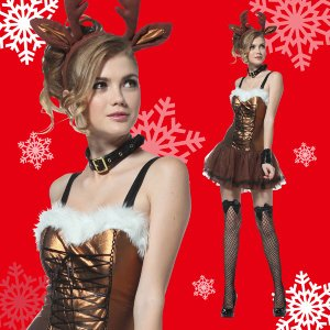 クリスマス コスプレ トナカイ レディース コスチューム 女性 大人 個性派 ワンピース マジカルトナカイブロンズ Ladies|mobadepa