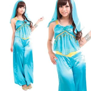 ハロウィン コスプレ 衣装 女性 ディズニー アラジン ジャスミン風 ドレス 仮装 コスチューム CO-CO エメラルドアラビアン|mobadepa