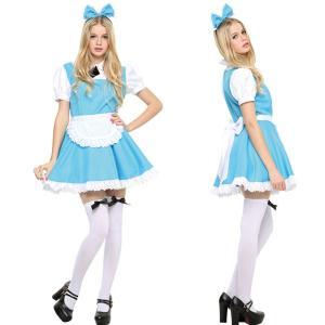 ハロウィン コスプレ ディズニー 不思議の国のアリス風 衣装 レディース 女性 仮装 コスチューム ピピメイド ブルー|mobadepa