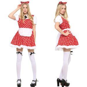 ハロウィン 衣装 レディース コスプレ ディズニー ミニーマウス風 ドット柄 ワンピース ピピメイド レッド|mobadepa