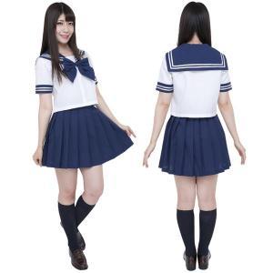 コスプレ セーラー服 衣装 レディース セット コスチューム セーラー服 半袖 制服セット カラーセーラー服 紺 4L mobadepa