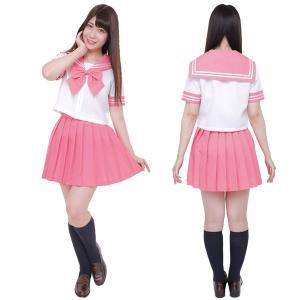 コスプレ セーラー服 衣装 レディース セット コスチューム セーラー服 半袖 制服セット カラーセーラー服 ピンク 4L|mobadepa