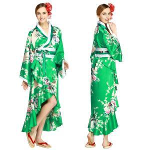 コスプレ 衣装 レディース 着物 ドレス 花魁 ドレス コスプレ 浴衣 和柄 女性 花魁浴衣 ハロウィン 学園祭 Tsuma Dream Emerald Green M|mobadepa