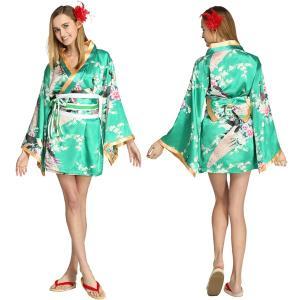 コスプレ 衣装 レディース 着物 ドレス 花魁 ドレス コスプレ 浴衣 和柄 女性 花魁浴衣 ハロウィン 学園祭 Flower Princess  Emerald Green M|mobadepa