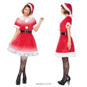 クリスマス コスプレ レディース サンタ コスプレ 衣装 光る コスチューム 女性 大人 エレクトリックショートスリーブサンタ|mobadepa