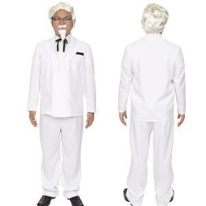 ハロウィン コスプレ 衣装 メンズ ケンタッキー カーネルサンダース風 仮装コスチューム セット 男性用 白ヒゲおじさん mobadepa