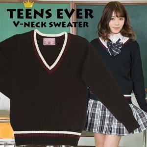 vネックセーター スクール 学生 レディース カーディガン 高校生 ブランド TEENS EVER ブラック 黒 M mobadepa