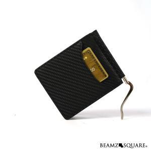 マネークリップ カーボンレザー カードケース メンズ 牛革 財布 ウォレット 薄い サイフ ビジネス 紳士 黒 ブラック BEAMZSQUARE BS-10310BK|mobadepa