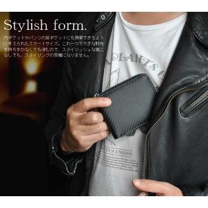 コインケース カーボンレザー 牛革 ラウンドファスナー 財布 ウォレット ボックスタイプ プレゼント 祝い 黒 ブラック BEAMZSQUARE BS-92013BK|mobadepa