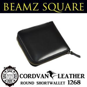財布 メンズ 二つ折り 革 財布 メンズ 人気 ブランド コードバンラウンドショートウォレット BEAMZ SQUARE BS1268 ブラック|mobadepa