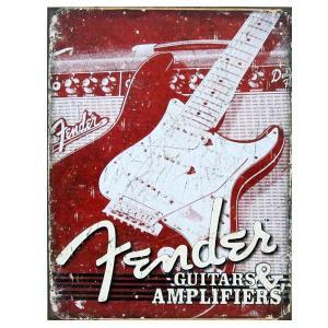 アメリカ雑貨 アメリカン サインプレート 看板 ブリキ板 アメリカン グッズ アンティーク風 フェンダー FENDER|mobadepa