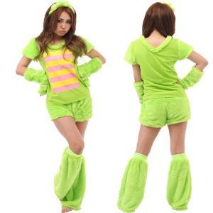 ハロウィン コスプレ 衣装 ポンキッキーズ レディース 仮装 女性 サンリオ もこもこ ガチャピン 5点セット ING-023|mobadepa