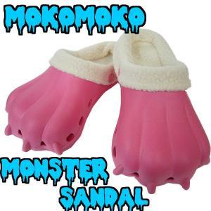 クロックス風 ボア付き レディース EVA 怪獣 サンダル もこもこ モンスターサンダル キャンディピンク×クリーム mobadepa