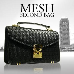セカンドバッグ メンズ ブランド 編み込み バッグ イントレチャート メッシュバッグ  おしゃれ クラッチバッグ S-333Z 黒|mobadepa