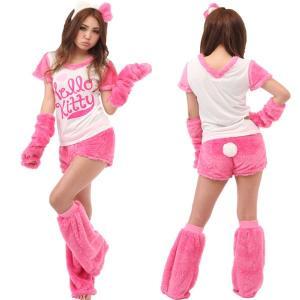 ハロウィン コスプレ 衣装 キティちゃん レディース 仮装 女性 サンリオ もこもこ キティ 5点セット|mobadepa