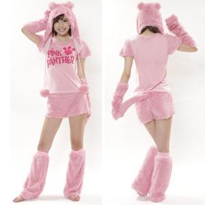 ハロウィン コスプレ 衣装 レディース 仮装 女性 ピンクパンサー もこもこ 5点セット SZC-140|mobadepa