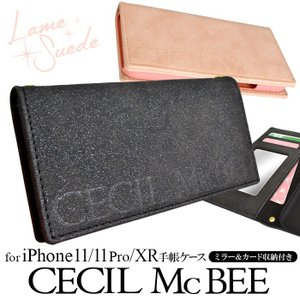 セール価格 iPhone11 iPhone11Pro iPhoneXR CECIL McBEE  「ラメスエード」 CECILMcBEE セシルマクビー 手帳ケース iPhone11 Pro ケース iPhone 11|mobile-f