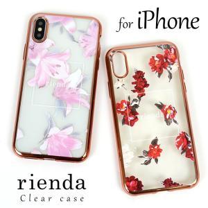 5ebcee63ac iPhoneX iPhoneXS iPhoneXR iPhoneXSMax rienda 「花柄クリアソフトケース」 リエンダ iphoneケース  スマホケース 花柄 iphone x xs xr iphonexsmax