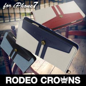 iPhone8 RODEOCROWNS/ロデオクラウンズ 「LINE DENIM」 手帳型 スマホケース iPhone7/6s/6|mobile-f