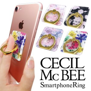 CECIL McBEE セシルマクビー スマホリング 「スクエア」 バンカーリング 落下防止 スマートフォン iPhone アクセサリ Xperia Galaxy|mobile-f