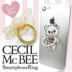 CECIL McBEE セシルマクビー スマホリング 「セシルベア」 ダイカット バンカーリング 落下防止 スマートフォン iPhone アクセサリ Xperia Galaxy|mobile-f