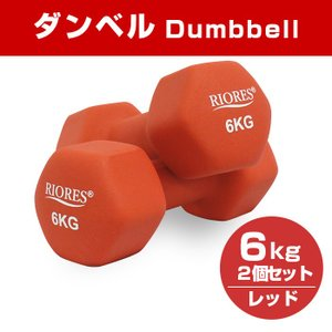 RIORES ダンベル 6kg 2個セット エクササイズ フィットネス ダイエット ストレッチ 鉄ア...
