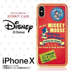 698a48c8af iPhone XS iPhone X ハードケース 【2879】Mモデリング ハイブリットケース ディズニーキャラクター レトロ ミッキーマウス  レッド ハセ・プロ