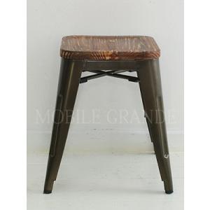 Cafe Line メタルスツール(ウッド座面)ブラウン 椅子/イス/いす/チェア/アイアン/アンテ...