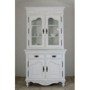 カップボード/キャビネット/チェスト/食器棚/アンティーク フランス家具 ホワイト家具 2ドアカップ...