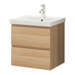 IKEA イケア 通販 バスルーム・洗面台 GODMORGON / ODENSVIK 洗面台(引き出し×2), ホワイトステインオーク調 (090.461.93) moblife