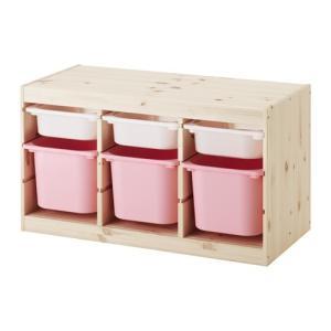 IKEA・イケア おもちゃ箱・子供収納 TROFAST(トロファスト) 収納コンビネーション, パイン材 ホワイト, ピンク (091.026.31)
