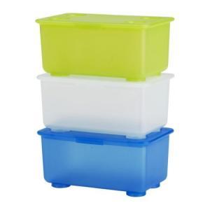 IKEA/イケア/通販 キッズ・子供収納 GLIS ふた付きボックス, ホワイト/ライトグリーン, ブルー, 17x10 cm (101.355.84) moblife
