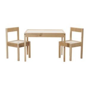 IKEA/イケア LATT 子供用テーブル チェア2脚付 ホワイト パイン材(101.784.13)