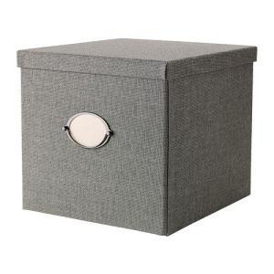 IKEA・イケア 収納ボックス・収納ケース KVARNVIK   ふた付きボックス, グレー ( 102.566.70)|moblife