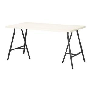 IKEA・イケア テーブル・オフィス家具 LINNMON/ LERBERG テーブル, ホワイト, グレー, 150x75 cm (192.464.60)|moblife