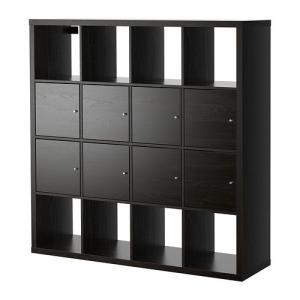 IKEA・イケア 書棚・本棚 KALLAX (カラックス)  シェルフユニット インサート8個付き, ブラックブラウン, 147x147 cm (991.975.64)|moblife
